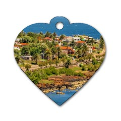 Punta Colorada Aerial Landscape Scene, Uruguay Dog Tag Heart (two Sides) by dflcprintsclothing