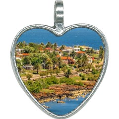 Punta Colorada Aerial Landscape Scene, Uruguay Heart Necklace