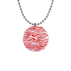 Red And White Zebra 1  Button Necklace by Angelandspot