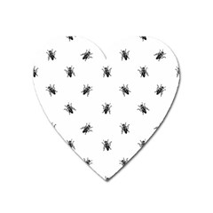 Housefly Drawing Motif Print Pattern Heart Magnet by dflcprintsclothing