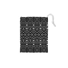 Ethnic Black And White Geometric Print Drawstring Pouch (xs) by dflcprintsclothing