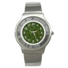 Green Army Camouflage Pattern Stainless Steel Watch by SpinnyChairDesigns