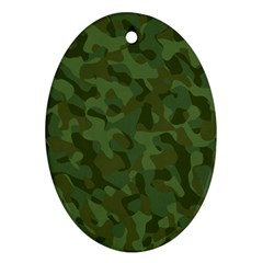 Green Army Camouflage Pattern Oval Ornament (two Sides)