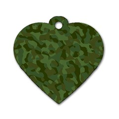 Green Army Camouflage Pattern Dog Tag Heart (two Sides)