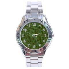 Green Army Camouflage Pattern Stainless Steel Analogue Watch by SpinnyChairDesigns