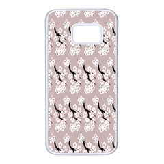 Pink Floral Samsung Galaxy S7 White Seamless Case