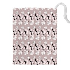 Pink Floral Drawstring Pouch (3xl) by Sparkle