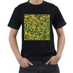 Yellow Green Brown Camouflage Men s T-shirt (black) (two Sided) by SpinnyChairDesigns