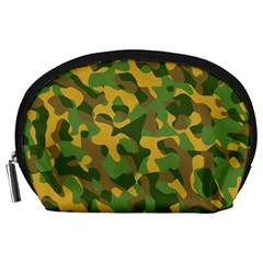 Yellow Green Brown Camouflage Accessory Pouch (large)