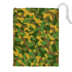 Yellow Green Brown Camouflage Drawstring Pouch (2xl) by SpinnyChairDesigns