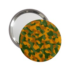 Green And Orange Camouflage Pattern 2 25  Handbag Mirrors by SpinnyChairDesigns