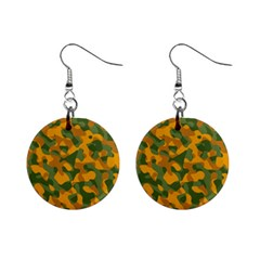 Green And Orange Camouflage Pattern Mini Button Earrings by SpinnyChairDesigns