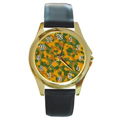 Green And Orange Camouflage Pattern Round Gold Metal Watch by SpinnyChairDesigns