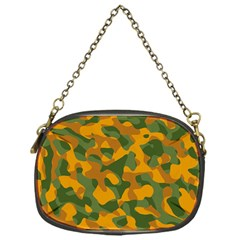 Green And Orange Camouflage Pattern Chain Purse (one Side) by SpinnyChairDesigns