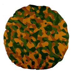 Green And Orange Camouflage Pattern Large 18  Premium Flano Round Cushions by SpinnyChairDesigns