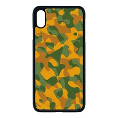 Green And Orange Camouflage Pattern Iphone Xs Max Seamless Case (black) by SpinnyChairDesigns