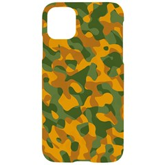 Green And Orange Camouflage Pattern Iphone 11 Black Uv Print Case by SpinnyChairDesigns