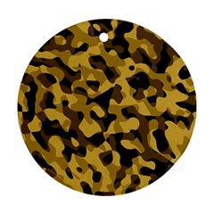 Black Yellow Brown Camouflage Pattern Round Ornament (two Sides)