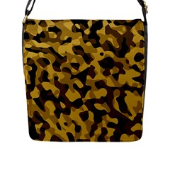 Black Yellow Brown Camouflage Pattern Flap Closure Messenger Bag (l) by SpinnyChairDesigns