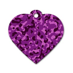 Dark Purple Camouflage Pattern Dog Tag Heart (one Side) by SpinnyChairDesigns