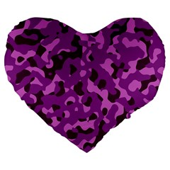 Dark Purple Camouflage Pattern Large 19  Premium Flano Heart Shape Cushions by SpinnyChairDesigns