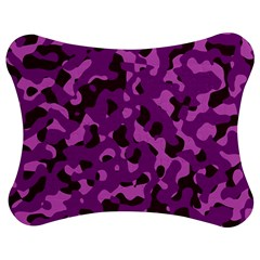 Dark Purple Camouflage Pattern Jigsaw Puzzle Photo Stand (bow)
