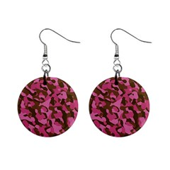 Pink And Brown Camouflage Mini Button Earrings