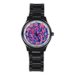 Blue And Pink Camouflage Pattern Stainless Steel Round Watch by SpinnyChairDesigns
