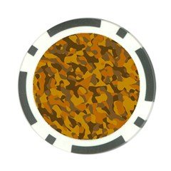 Brown And Orange Camouflage Poker Chip Card Guard by SpinnyChairDesigns