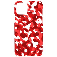 Red And White Camouflage Pattern Iphone 11 Pro Black Uv Print Case by SpinnyChairDesigns