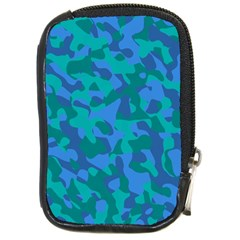 Blue Turquoise Teal Camouflage Pattern Compact Camera Leather Case by SpinnyChairDesigns