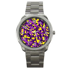 Purple And Yellow Camouflage Pattern Sport Metal Watch by SpinnyChairDesigns
