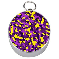 Purple And Yellow Camouflage Pattern Silver Compasses by SpinnyChairDesigns