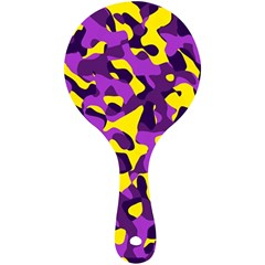 Purple And Yellow Camouflage Pattern Mini Wooden Mirror by SpinnyChairDesigns