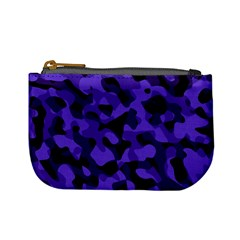 Purple Black Camouflage Pattern Mini Coin Purse by SpinnyChairDesigns