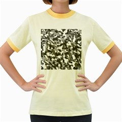 Grey And White Camouflage Pattern Women s Fitted Ringer T-shirt