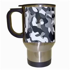 Grey And White Camouflage Pattern Travel Mugs (white)