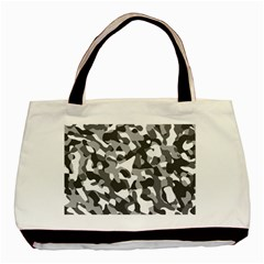 Grey And White Camouflage Pattern Basic Tote Bag
