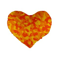 Orange And Yellow Camouflage Pattern Standard 16  Premium Heart Shape Cushions