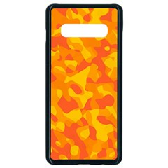 Orange And Yellow Camouflage Pattern Samsung Galaxy S10 Plus Seamless Case (black) by SpinnyChairDesigns