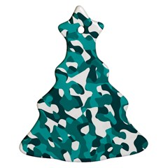 Teal And White Camouflage Pattern Christmas Tree Ornament (two Sides) by SpinnyChairDesigns
