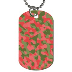Pink And Green Camouflage Pattern Dog Tag (one Side) by SpinnyChairDesigns