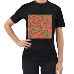 Pink And Green Camouflage Pattern Women s T-shirt (black) (two Sided) by SpinnyChairDesigns