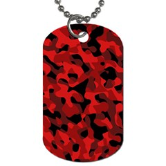Red And Black Camouflage Pattern Dog Tag (two Sides) by SpinnyChairDesigns