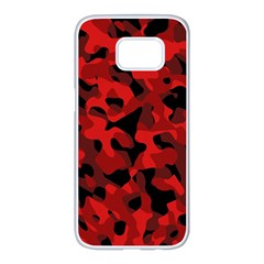 Red And Black Camouflage Pattern Samsung Galaxy S7 Edge White Seamless Case by SpinnyChairDesigns