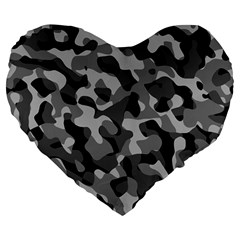 Grey And Black Camouflage Pattern Large 19  Premium Flano Heart Shape Cushions by SpinnyChairDesigns