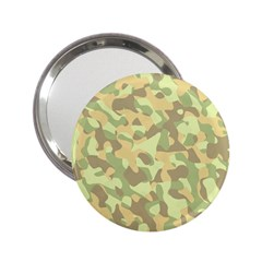 Light Green Brown Yellow Camouflage Pattern 2 25  Handbag Mirrors by SpinnyChairDesigns