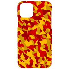 Red And Yellow Camouflage Pattern Iphone 11 Pro Black Uv Print Case by SpinnyChairDesigns