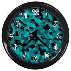 Black And Teal Camouflage Pattern Wall Clock (black) by SpinnyChairDesigns
