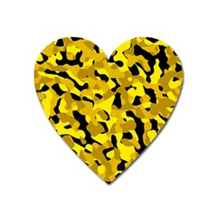 Black And Yellow Camouflage Pattern Heart Magnet by SpinnyChairDesigns